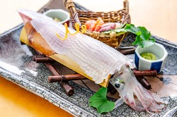 Freshly made transparent squid, sashimi