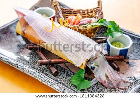 Freshly made transparent squid, sashimi Foto d'archivio ©