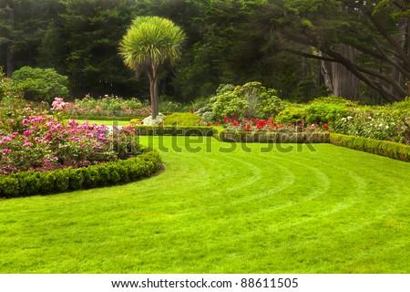 Freshly mowed lawn in a formal garden.
