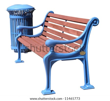 Freshly painted blue park bench and Rubbish bin Isolated with clipping path