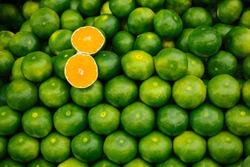 Freshly picked green tangerines mandarines, clementines, as Citrus fruit background.