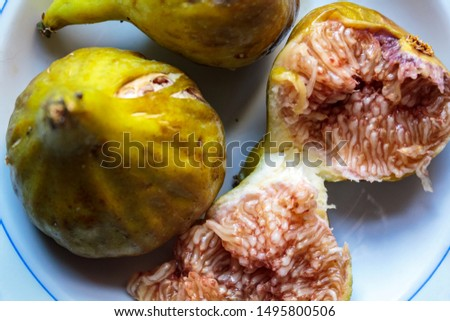 Freshly picked ripe green figs