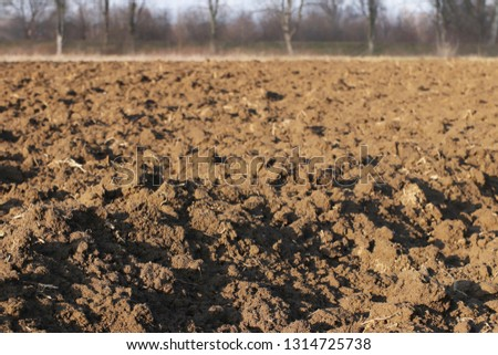 Freshly plowed land. A brownish relief texture. Loose soil for planting. Agriculture. Agricultural business. Technology of food cultivation. Spring field work. Farm lands. The quality of the land. #1314725738