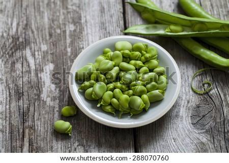 Freshly podded broad beans