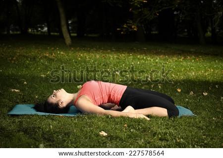 Freshly pregnant lady enjoying exercising outdoor