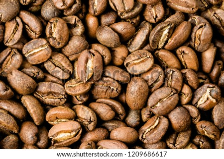 Freshly roasted coffee, medium roast, close-up #1209686617