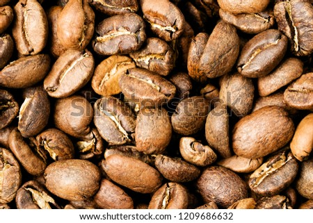 Freshly roasted coffee, medium roast, close-up #1209686632