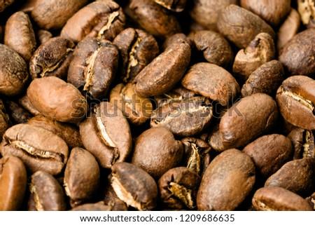 Freshly roasted coffee, medium roast, close-up #1209686635