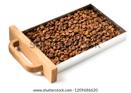 Freshly roasted coffee, medium roast, in the container #1209686620