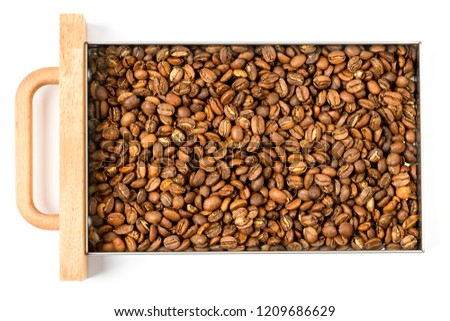Freshly roasted coffee, medium roast, in the container #1209686629