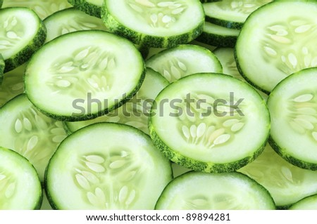 Freshly sliced cucumber