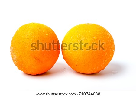 Freshly sliced orange on a white background Zdjęcia stock ©