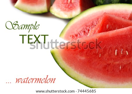 Freshly sliced watermelon on white background with copy space. Macro with shallow dof.