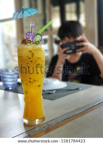 Freshly squeezed passion fruit juice with a sour and sweet taste, can be refreshed. #1581784423