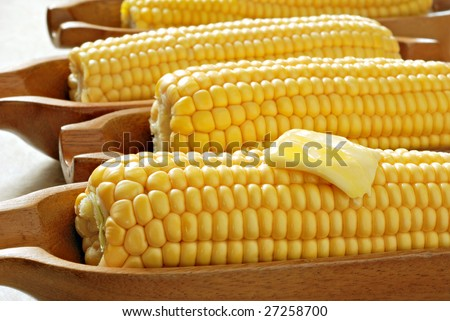 Freshly steamed corn on the cob served in wooden dishes.  Back lit with natural sunlight.  Macro with shallow dof. - stock photo