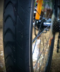 Freshly washed wet bicycle cycle tyre