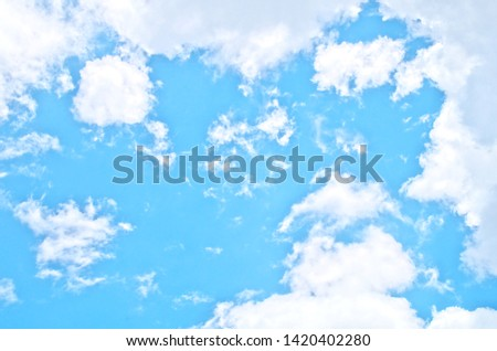 Freshness blue sky background with brilliant white puffy Cumulus clouds (cumulus humilis ,cumulus fractus) in nice weather sunny day for fresh natural environment ,summer season concept ,relax feeling #1420402280