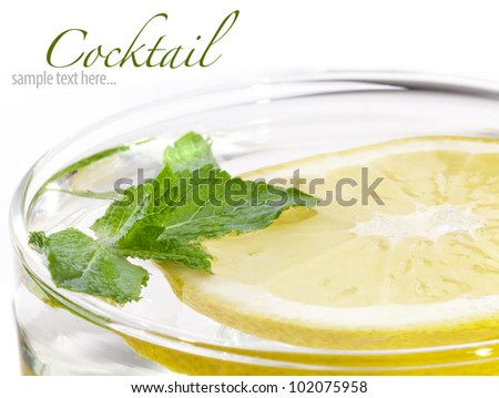 Freshness cocktail with mint, Ice and lemon (with sample text)