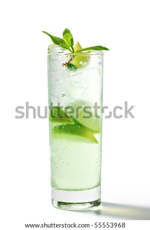 Freshness Cocktail with Mint, Ice and Lime