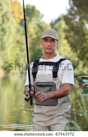 Freshwater fisherman in a river