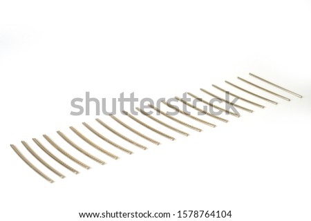 Frets of the guitar neck metal, workpieces for manufacturing, shot large on a white background. stock photo