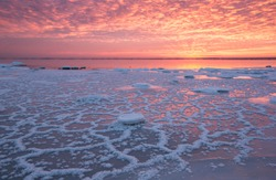 Frezing sea with ice formations with the steam and sunset colored textured cloud sky in the background