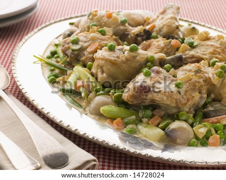 Fricassee of Chicken with Spring Vegetables - stock photo