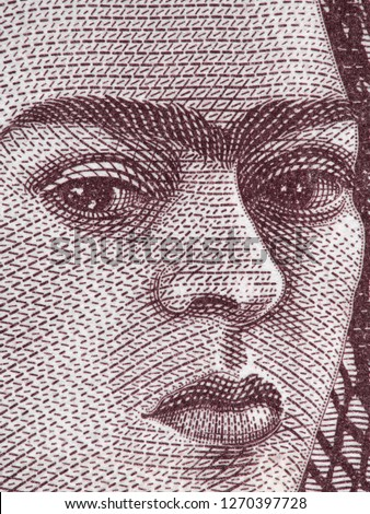 Frida Kahlo portrait on Mexico 500 peso bill, extreme macro. Famous Mexican artist, Icon of Feminism.