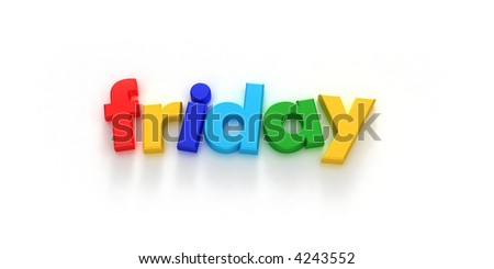 Friday word formed with colorful letter magnets on neutral background - stock photo