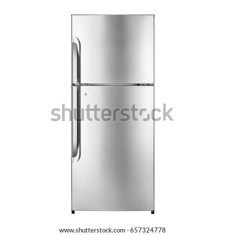 Fridge Freezer Isolated on White Background. Front View of Stainless Steel Top Mount Refrigerator. Kitchen and Domestic Appliances. Clipping Path
