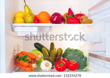 Fridge full of healthy fruits and vegetables #132234278