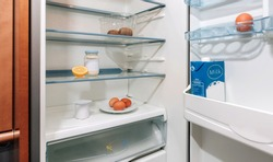 Fridge interior almost empty due to economic crisis