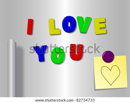 Fridge magnets spelling I love you with a heart on a sticky note / I love you fridge magnets