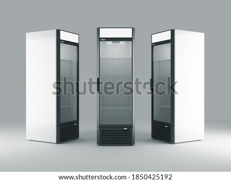 Fridge. Refrigerator Mockup. 3D illustration