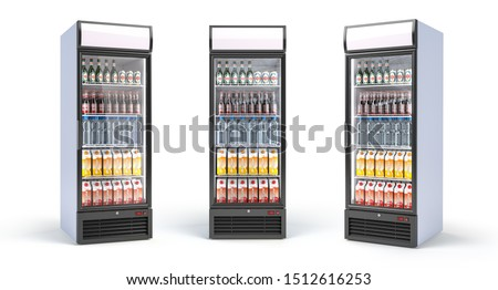 Fridge with drinks isolated on white. Set of showcase refrigerators with water, beer nad soda in the grocery shop. 3d illustration