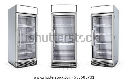 Fridge with transparent glass isolated. Refrigerator showcase on white background. 3d image set