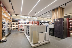Fridges, heaters and and vacuum cleaners in the premium home appliance store