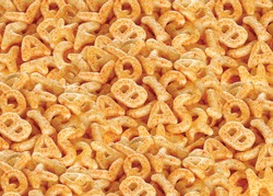 Fried and Spicy ABCD, Alphabet Snacks or Fryums (Snacks Pellets) food background, selective focus - Image