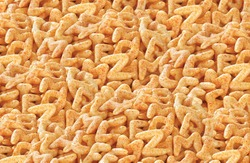 Fried and Spicy ABCD, Alphabet Snacks or Fryums (Snacks Pellets) served in a FOOD BACKGROUND. selective focus - Image