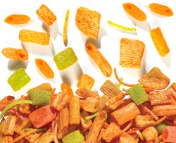 Fried and Spicy mix frymus, cocktail (Khichadi) Colourful, Square, cup, ABCD, pasta, Noodles, triangle, wheel and pipe shape Fryums Papad or fingers is a crunchy Snack Pellets - Image