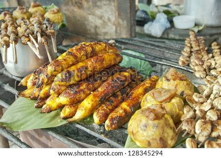 Fried bananas in the market Iquitos, Peru.
