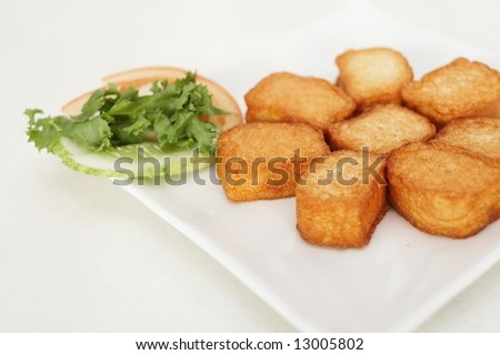 fried bean curd, with side salad