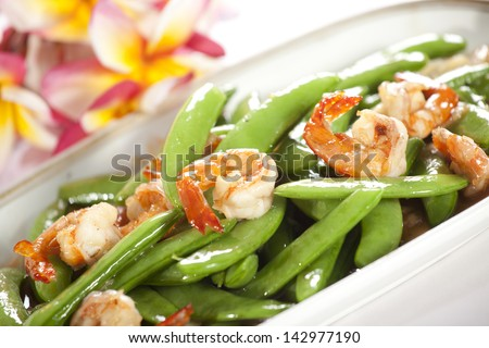 fried bean with shrimp, Chinese style stir-fried green bean with shrimp and soy sauce