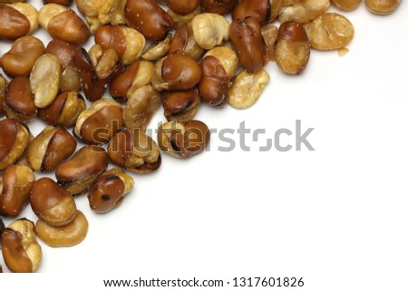 fried beans in a white background