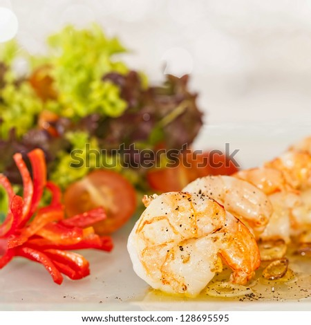 fried black tiger prawns with herbs and spices