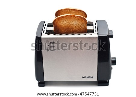 Fried bread in the toaster on a white background