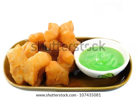 fried bread stick isolated on white background