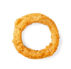 Fried breaded onion ring on white background