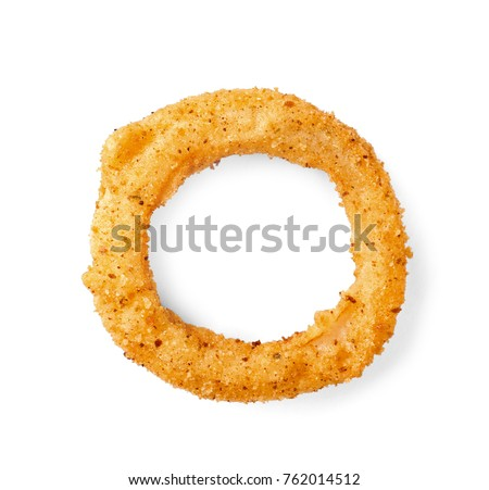 Fried breaded onion ring on white background #762014512