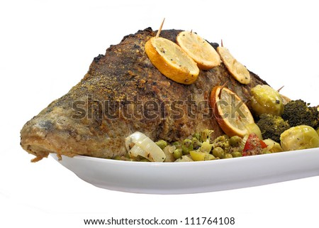 Fried carp in vegetable bed